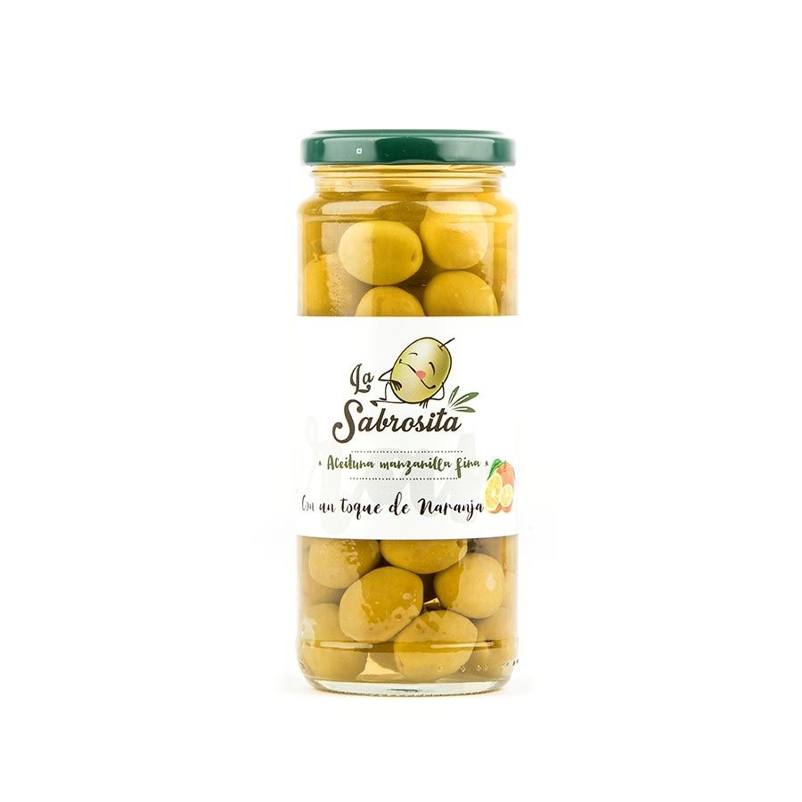 Whole Manzanilla Olives Orange Flavour 195 g