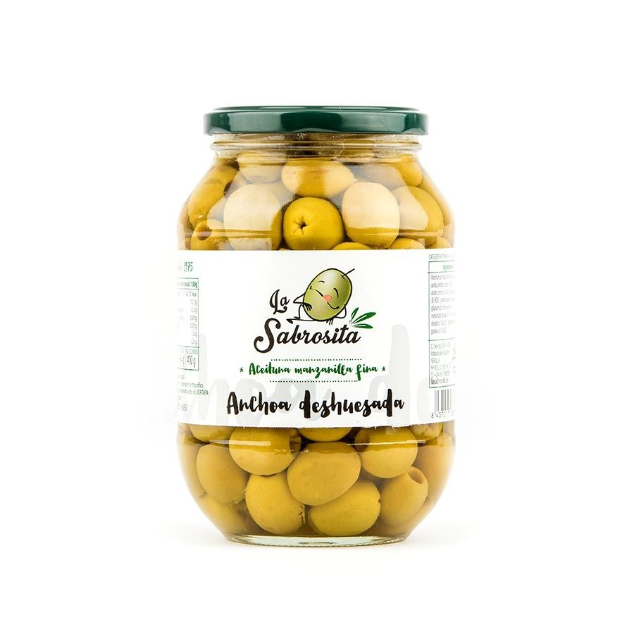 Pitted Manzanilla Olives Anchovy Flavour 410 g