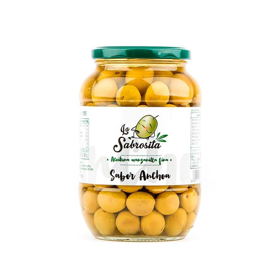 Whole Manzanilla Olives Anchovy Flavour 465 g