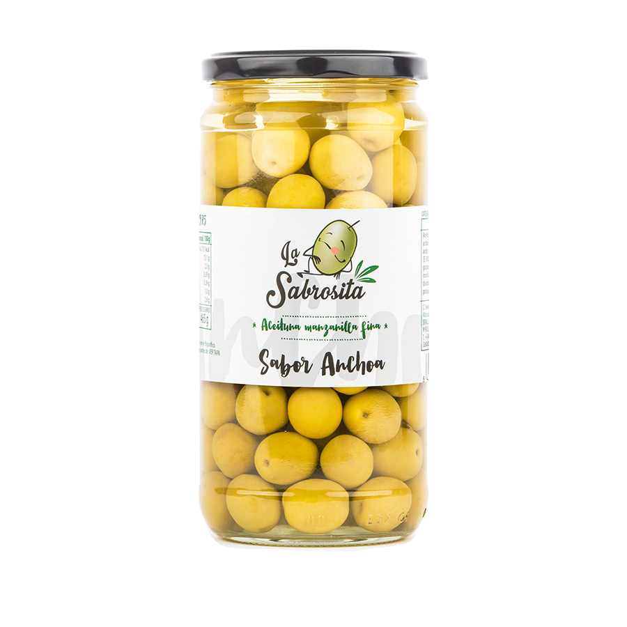 Whole Manzanilla Olives Anchovy Flavour 400 g